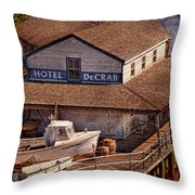 Boat - Tuckerton Seaport - Hotel Decrab  Throw Pillow by Mike Savad
