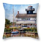 Boat - Tuckerton Seaport - Tuckerton Lighthouse Throw Pillow