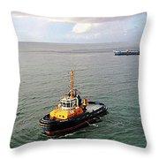 Boat - Tugboat Barbados II Throw Pillow