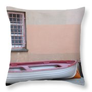 Boat Under A Window Throw Pillow