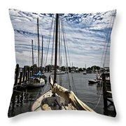 Boat Under The Clouds Throw Pillow