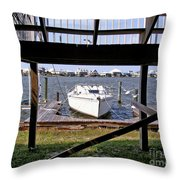 Boat View Under The Stairway Throw Pillow