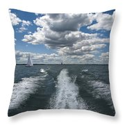 Boat Wake 01 Throw Pillow