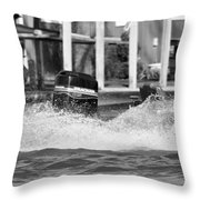 Boat Wake Black And White Throw Pillow