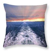 Boat Wake On Georgian Bay  Throw Pillow