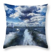 Boat Wake Photo Art 02 Throw Pillow