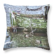 Boat Wreck With Sea Birds Throw Pillow