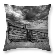 Boat Wreckage Bw Throw Pillow