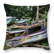 Boat Yard Throw Pillow by Heather Applegate