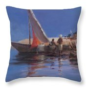 Boat Yard, Kilifi, 2012 Acrylic On Canvas Throw Pillow