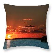 Boathouse At Dawn Throw Pillow
