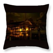 Boathouse Night Glow Throw Pillow by Michael Thomas