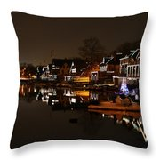 Boathouse Row All Lit Up Throw Pillow by Bill Cannon