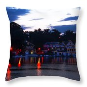 Boathouse Row Along The Schuylkill River At Dawn Throw Pillow