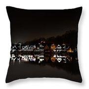 Boathouse Row At Night Throw Pillow