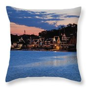 Boathouse Row Dusk Throw Pillow