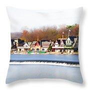Boathouse Row In Autumn Throw Pillow