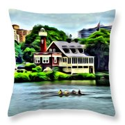 Boathouse Rowers On The Row Throw Pillow