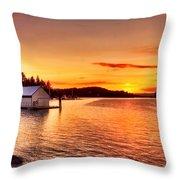 Boathouse Sunset On The Sunshine Coast Throw Pillow