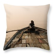 Boating At Sangam Throw Pillow