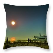 Boating At Sunrise Throw Pillow