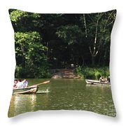 Boating In Central Park Throw Pillow