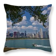 Boating In Chicago  Throw Pillow