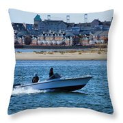 Boating In New York Harbor Throw Pillow by Dan Sproul