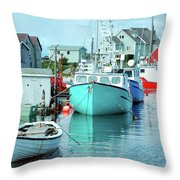 Boating In The Village Throw Pillow