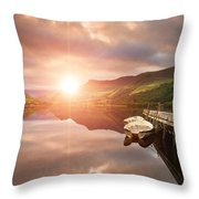 Boating Lake Sunrise Throw Pillow by Matthew Gibson