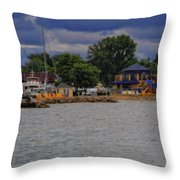 Boating On Lake Erie Throw Pillow