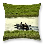 Boating On The Nile River Throw Pillow