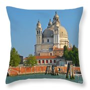 Boating Past Basilica Di Santa Maria Della Salute  Throw Pillow
