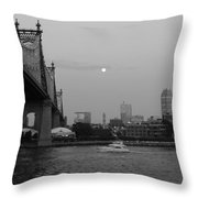 Boating Under The Bridge Throw Pillow