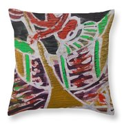 Boatman On The  Small River Nearby The Village Throw Pillow