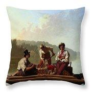 Boatmen On The Missouri Throw Pillow