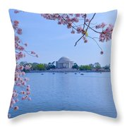 Boats Across The Basin Of Blossoms Throw Pillow