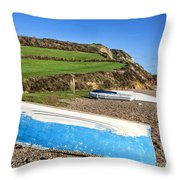 Boats Along Branscombe Beach Throw Pillow
