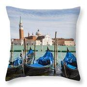 Boats Anchored At Marina Venice, Italy Throw Pillow