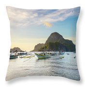 Boats Anchored In Bacuit Bay And Cadlao Throw Pillow