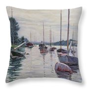 Boats Anchored On The Seine Throw Pillow by Gustave Caillebotte