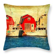Boats And Boat Houses Pei Photograph  Throw Pillow by Laura Carter