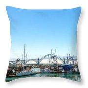 Boats And Bridge Throw Pillow