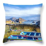 Boats And Floating Islands Throw Pillow