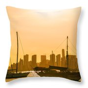 Boats And Skyscrapers Throw Pillow