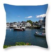 Boats At A Harbor, Nantucket Throw Pillow