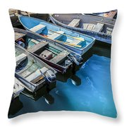 Boats At Bar Harbor Maine Throw Pillow