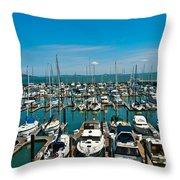 Boats At Bay Throw Pillow