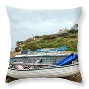 Boats At Burton Bradstock Throw Pillow