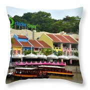 Boats At Clarke Quay Singapore River Throw Pillow